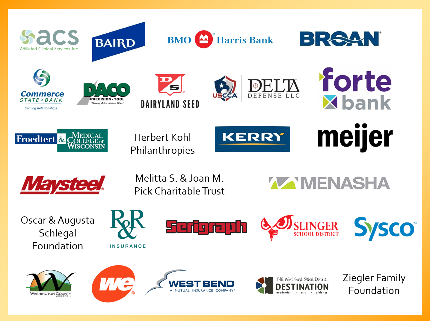 Image of the companies that donated $10,000 or more to the United way campaign.