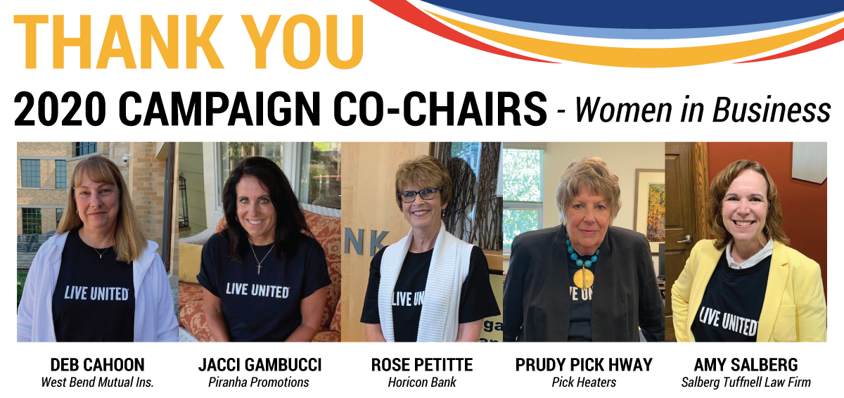 The 2020 United Way campaign co-chairs, from left: Deb Cahoon, Jacci Gambucci, Rose Petitte, Prudy Pick Hway and Amy Salberg